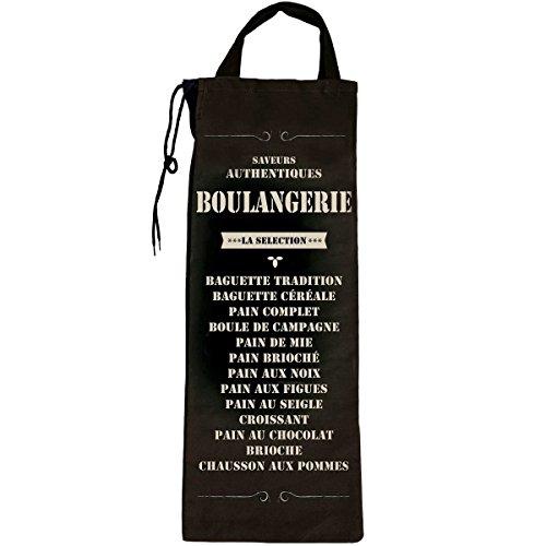 Promobo - Sac A Pain Bistrot Rangement Rétro Cuisine Saveur Authentique Boulangerie Usa Vintage Noir