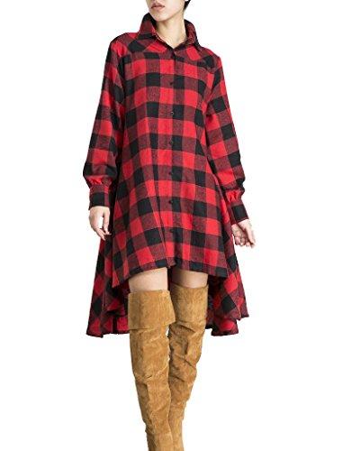 OLRAIN Womens New Plaids Irregular Hem Casual Shirt Dress X-Large Red