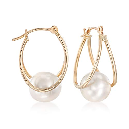 Ross-Simons 8-9mm Cultured Pearl Double-Hoop Earrings in 14kt Yellow Gold