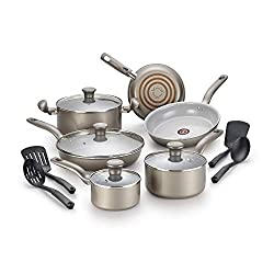 T-fal G919SE64 Initiatives Ceramic Nonstick Dishwasher Safe ToxicFree 14-Piece Cookware Set, Gold