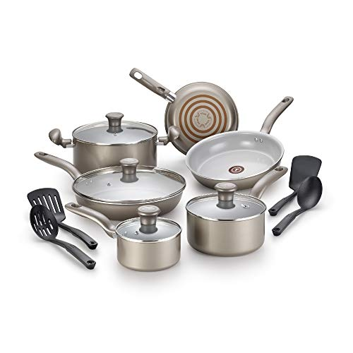 T-fal G919SE64 Initiatives Ceramic Nonstick Dishwasher Safe Toxic Free 14-Piece Cookware Set, Gold