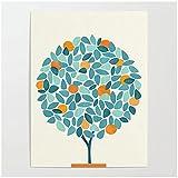 LLXHG Póster de Arte de Pared Imágenes Huerto Impresión HD Lienzo Minimalista Pintura de árbol de Naranja Planta Hogar para decoración de Sala de estar-45x60cm Sin Marco