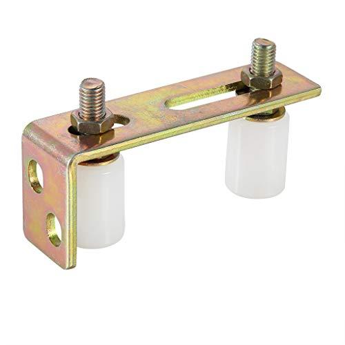 Skelang - Rullo per cancello scorrevole con staffa a L, doppio rullo in nylon regolabile per cancelli scorrevoli, capacità massima di 2-5/16'