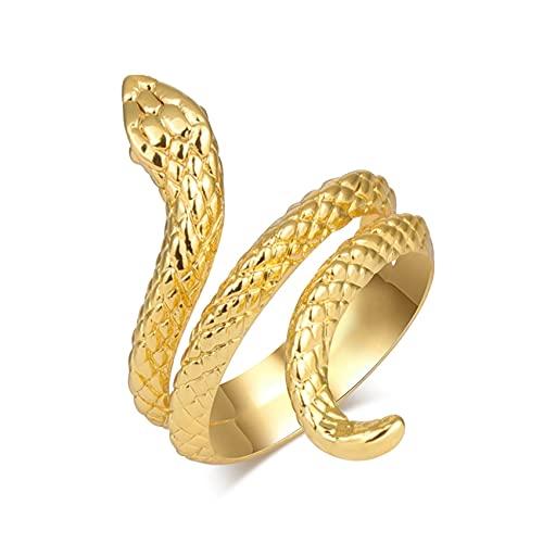 Anillos de serpiente de dedo para hombres y mujeres Color dorado Punk Rock anillo de nudillo ajustable abierto joyería de fiesta redimensionable T4