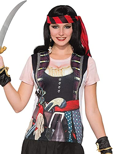 Forum Novelties Novelties-X77166 X77166 T-Shirt de Femme Pirate Effet 3D, Multicolore, UK Size 10-14