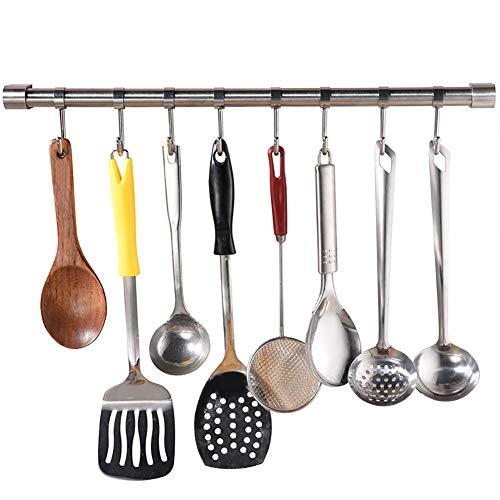 HUIJ Porta Utensili da Cucina in Acciaio Inox con 8 Ganci,50cm Barra da Parete Mobili Binario da Parete Cucina per Gadget da Cucina,Pentola,Mestolo,Aiutante da Cucina,Bagno