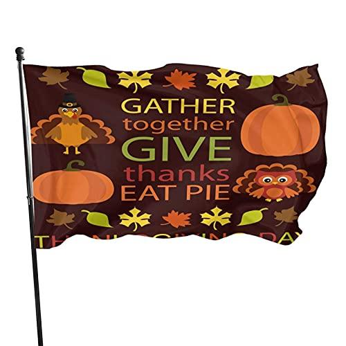 Bandera de agradecimiento de hoja de arce de calabaza de pavo agradecido, bandera de poliéster cosida grande de 3 x 5 pies, bandera estándar colgante exterior