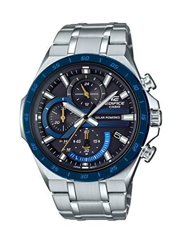 Casio Edifice Reloj de cuarzo para hombre con correa de acero inoxidable, plateado, 28.5 (Modelo: EQS-920DB-2AVCR)