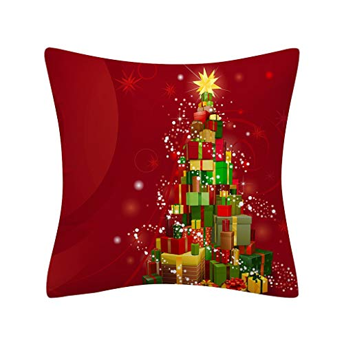 Shan-S Merry Christmas Series Throw Pillow Case Decorative Glitter Xmas Ball Print Cushion Cover Square Pillowcase for Sofa, Couch, Bed and Car Home Red Festive Pillows Decor
