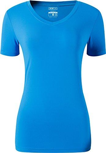 jeansian Damen Sport Quick Dry Fit V Ausschnitt Kurzarm T-Shirt Tee Shirt Tops Golf Tennis Bowling SWT240 - Blau - US XL (Hemd Büste 109/ 127 cm)