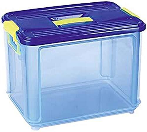 Denox Caja Clak Box Azul transparete con Tapa 14 L, Plã¡Stico