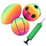 Breale Lot de 3 ballons gonflables de 15,2 cm pour basket-ball, football, rugby, terrain de jeu avec gonfleur pour enfants, garçons et filles, pour jouer en extérieur ou en intérieur