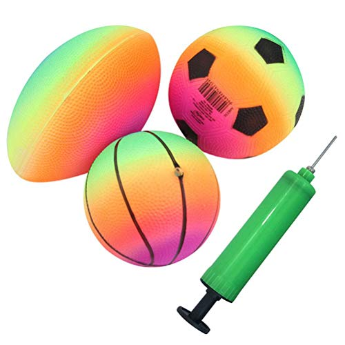 Aufblasbare Sportbälle, Regenbogenfarben, 15,2 cm, mit Pumpe für Kleinkinder, inklusive Basketball, Fußball und Rugby-Ball, Hinterhofspiel, Outdoor-Sportarten für Kinder