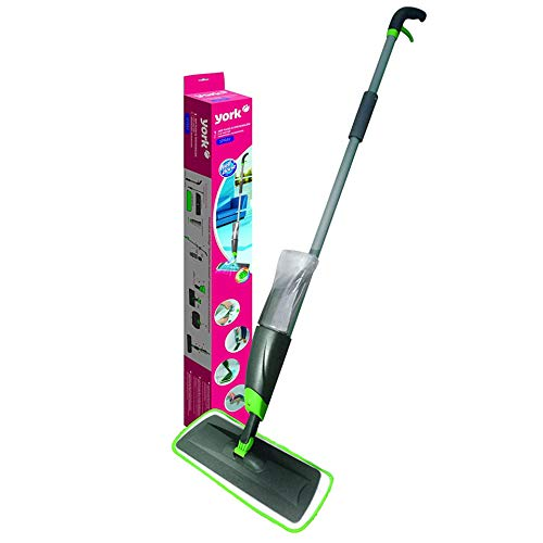 YORK Flat Spray Mop, 2 in 1, Liquid Dispenser and Movable Handle, High Absorbent Microfiber, for Wet and Dry Surface, Marble Flooring, Tiles Cleaning