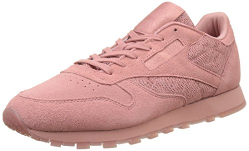 Reebok Damen Classic Leather Lace Sneaker, Pink (Grey Sandy Rose/White), 38 EU