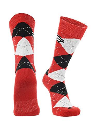 TCK Georgia Bulldogs Argyle Dress Socks (Red/Black/White, Large)