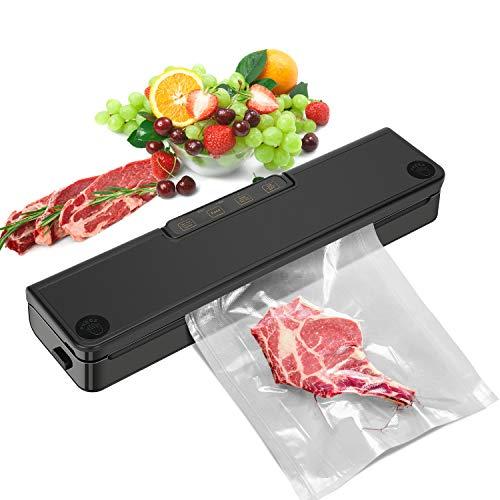RUMIA Vakuumiergerät für Trockene,Vakuumierer für Lebensmittel, Vakuumiergerät Lebensmittel, trockene und feuchte Lebensmittelmodi mit LED-Anzeigelampen (Black)