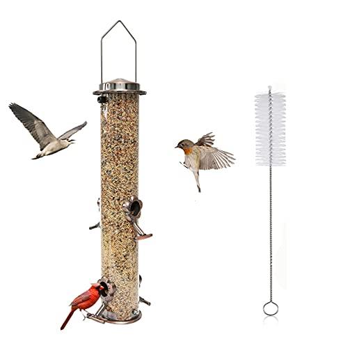 QeeHeng Comedero para pájaros para exteriores,comedero para pájaros para jardín colgante para exteriores,con 4 puertos de alimentación