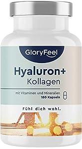 Colágeno + Ácido hialurónico + Vitamina C natural + Biotina + Zinc + Selenio + Extracto de bambú - Para la piel, articulaciones, los huesos y el cabello -180 cápsulas (Suministro para 3 meses)