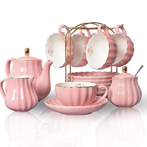 Sweejar Home 22 Stück Europäischen Stil Tee Service, Teetasse und Untertasse Set, Keramik Kaffeeset, Tee-Set Royal…