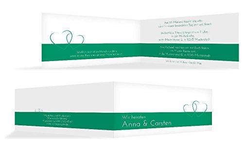 Hochzeitskarten: Einladung Herzensband, hochwertige Einladung zur Heirat inklusive Umschläge | 15 Karten (format: 215.00x105.00mm) color: Türkis