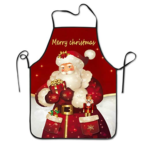 Shuwekk Xmas Apron Merry Christmas Aprons Christmas Santa Claus Apron,Kitchen Cooking Grilling Apron Bib Apron With Adjustable Neck Strap,Perfect Gifts For Men Woman Family Friends