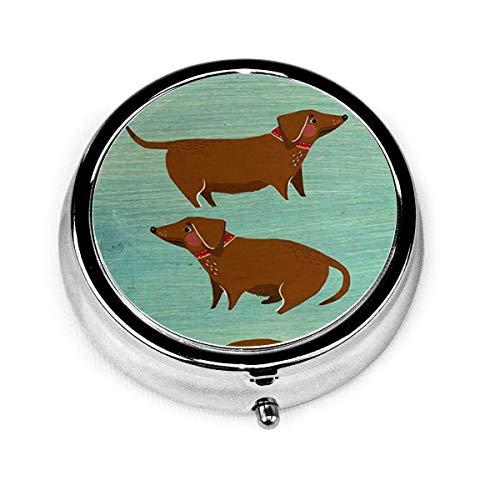 Perro salchicha marrón lindo Vintage novedad caja de pastillas redonda bolsillo medicina tableta soporte organizador estuche para monedero regalo único