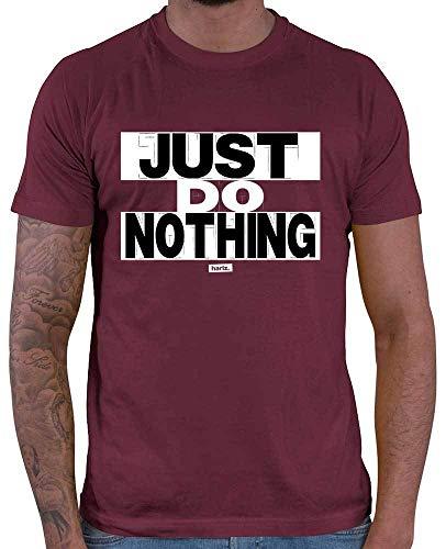 Hariz Just Do Nothing - Camiseta para hombre, diseño con texto en alemán, color blanco y negro Rojo vino. XL