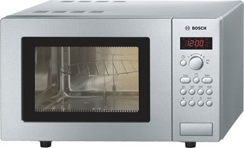 Bosch HMT75G451B Serie 4 Freestanding 800W Microwave Oven with Grill, 17 litre, Brushed Steel