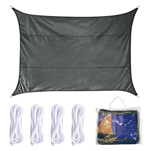 Vela de Sombra 4x6m Rectangular Toldo Vela Impermeable Protección Solar Rayos UV para Jardín Patio Terraza Balcón Exteriores Bolsa Almacenamiento Cuerdas Todo Incluído (4 * 6, Gris)