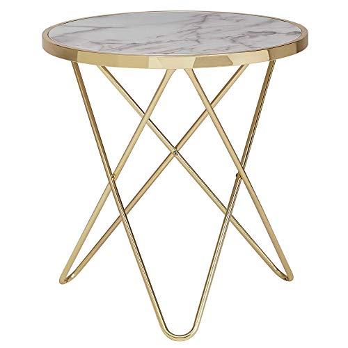 FineBuy Design Beistelltisch Marmor Optik Weiß Rund Ø55 cm Gold Metallgestell | Kleiner Wohnzimmertisch | Couchtisch