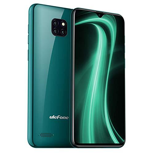 Teléfono Móvil Libre, Ulefone Note 7 Android 9 Smartphone, Pantalla 6.1' Water-Drop Screen Móvil, Smartphone Barato Dual SIM, Batería 3500 mAh, 8MP + 2MP + 2MP, 16GB ROM (SD 64GB), Face ID (Verde)