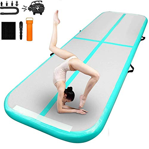 Inflatable Gymnastics Air Track Tumbling Mat Yoga Floor Cheerleading Landing Taekwondo Training Kungfu Exercise Mats with Electric Air Pump for Home Gymnasium Beach Park and Water Use