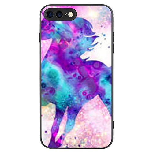 FAUNOW Diseñado para iPhone 7/8 Plus Funda Mate Ultra Fina a prueba de golpes Funda Negro con Unicorn Galaxy