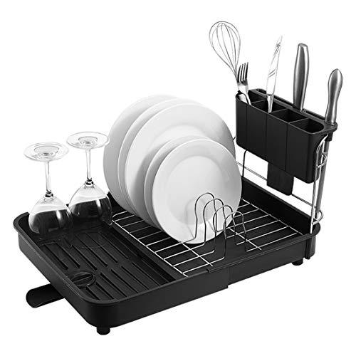 GODNECE Escurridor de platos con bandeja de goteo, ajustable para fregadero de cocina, escurridor retráctil y soporte de almacenamiento de agua Negro y plateado.