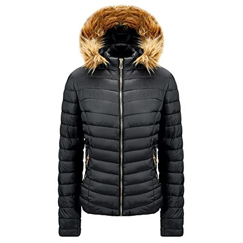Chaqueta de invierno para mujer, larga, color negro, cálida, a rayas, con gorro extraíble, abrigo de invierno, abrigo largo para exterior, parka acolchada