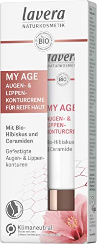 lavera MY AGE Augen- & Lippenkonturcreme, mit Bio-Hibiskus und Ceramiden pflanzlichen Ursprungs, mindert Pigmentflecken, für die reife Haut, zertifizierte Naturkosmetik, vegan, 15 ml