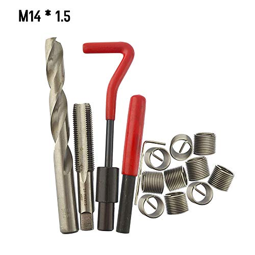 Docooler gewindereparatursatz Metrische gewinde-reparatur-einsatzsatz M5 M6 M8 M10 M12 M14 Helicoil Auto Pro Spulenwerkzeug 15 Stücke