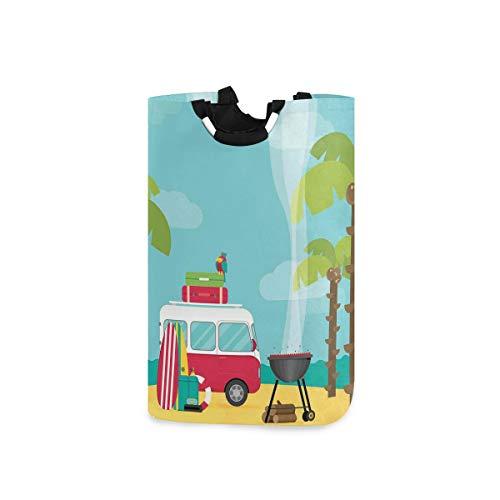 YCHY Wäschekorb,Caravan Camping mit Grill und Surfbrettern Tropical Beach Banana Coconut Trees,faltbar,tragbar,platzsparend,Aufbewahrungstasche,schmutzige Kleidung für Badezimmer,Kinderzimmer