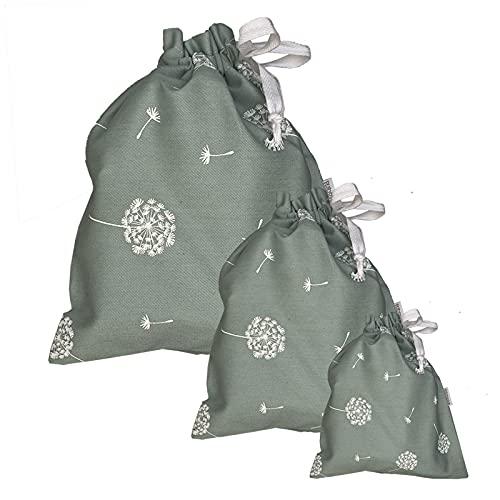Mimuselina Pack 3 Bolsas Merienda o Muda de tela con Cuerda. Bolsa Organizadora bebé, 3 medidas (Diente de león menta)