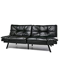 Easy Assembly: Just take it out of box and install the legs, you will have a multifunctional sofa in minutes. The zip compartment on the base underside stores the legs and hardware. Modern Look: Sleek, tufted faux leather upholstery finished with cle...