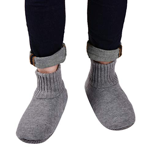 Panda Bros Slipper Socks Soft Cozy Thick House Indoor Boot Sock Shoes with Anti-Skid Bottom Soles for Men's(smoke gray,10-13)
