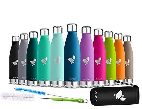 AORIN Vakuum-Isolierte Trinkflasche aus Hochwertigem Edelstahl - 24 Std Kühlen & 12 Std Warmhalten Pulverlackierung Kratzfestigkeit Leicht zu reinigen. (Blau-500ml)