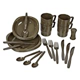 Black Snake® Juego de vajilla de Camping | Vajilla y Cubiertos de Camping para 4 Personas | Kit de vajilla para Acampar, picnics, Viajes | Oliva