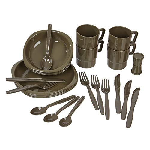 Black Snake® Camping Geschirrset 26 TLG. bruchfestes Outdoor Geschirr und Besteck Set - Oliv