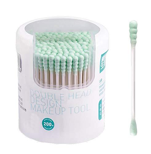 Poignées de bâton de papier de coton-tampons pour le soin propre de maquillage, 200pcs, bleu