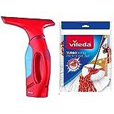 Vileda Windomatic - Aspirador De Ventanas con Labio De Goma + Turbo 2In1 - Recambio De Microfibras Y Poliamida
