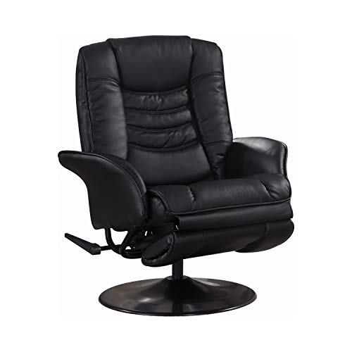 Coaster Home Furnishings 600229 Recliners Casual Leatherette Swivel Recliner, Black