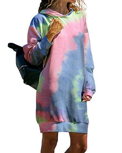 Kidsform Damen Kapuzenpullover Pullover Hoodie Lange Tops Langarm Sweatshirt Casual Täglich Herbst Pulli Kleider Sweatjacke Jumper H-Farbig M