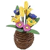 YOUTHINK Planta de Flor de Resina en Miniatura de casa de muñecas a Escala 1:12 con Maceta, Mini simulación de Plantas en Maceta de Flores decoración de casa